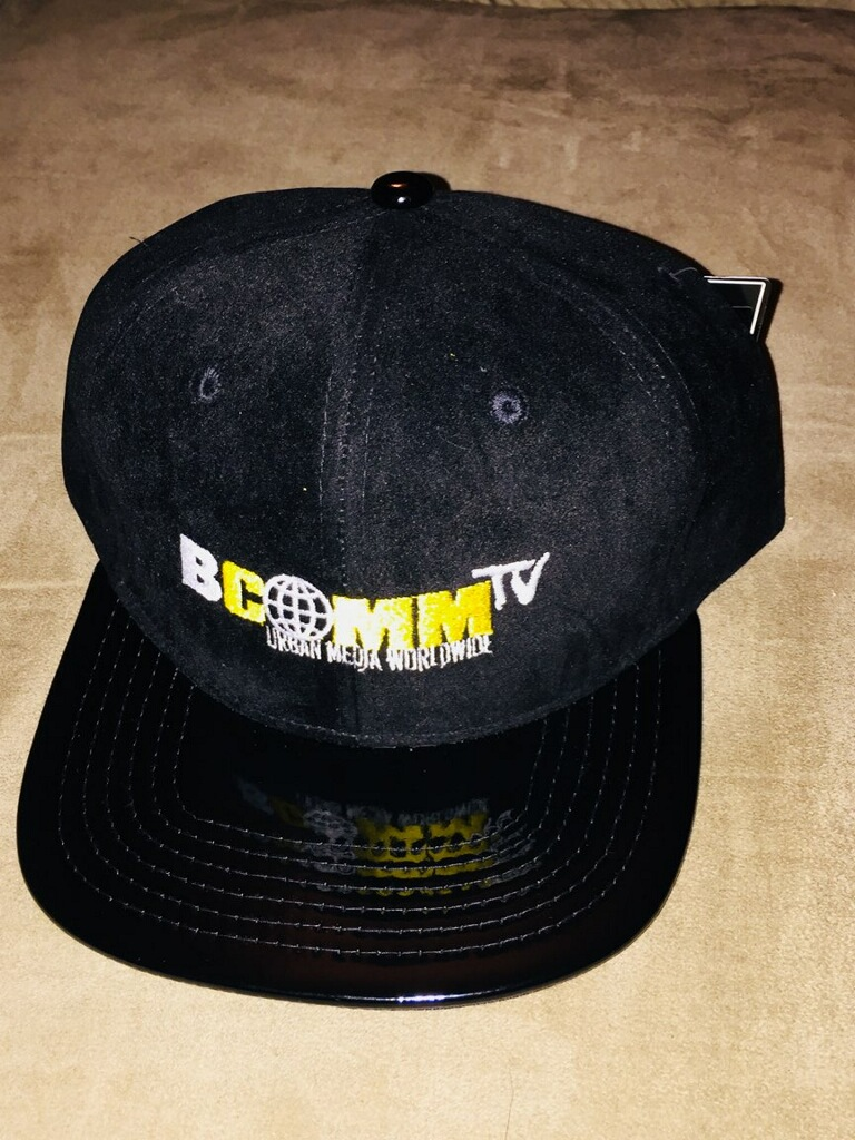 BCOMMTV Snapback Hat Black Suede On Patent Leather Brim - BCOMMTV ... eee2bd831ff